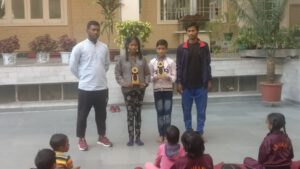 Two children from Ananda Shiksha, sec 21 , Vishal and Nisha won third prizes in boys and girls category respectively, of Yoga competition for classes 6 to 8 in Panchkula district.
